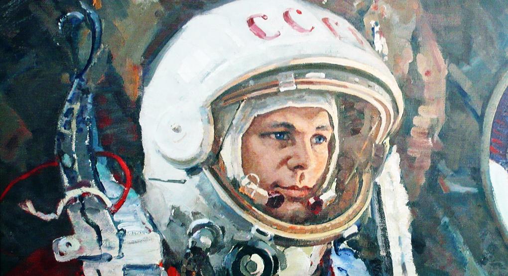 Юрий Гагарин на Дворцовом мосту