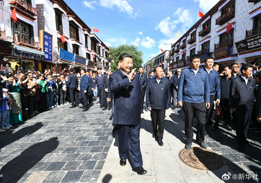 Си Цзиньпин инспектирует Лхасу в Тибете